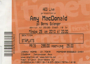 Amy Macdonald concert ticket